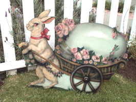 Rabbit With Egg Cart - Boardwalk Originals Rabbit Decoration & Display